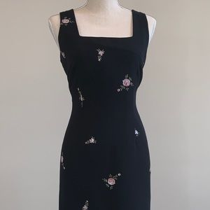 Black Dres with Pink Flowers and Sequins